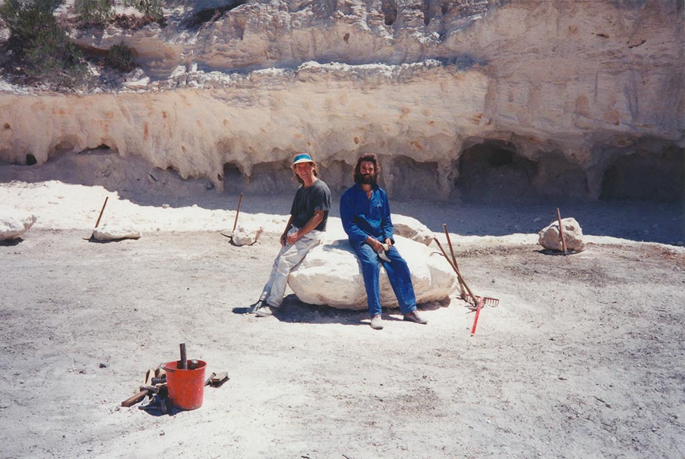 Robert Slingsby and John Skotnes at rest after shaping the stones
